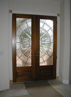 Contemporary Door With Stained Gl Design