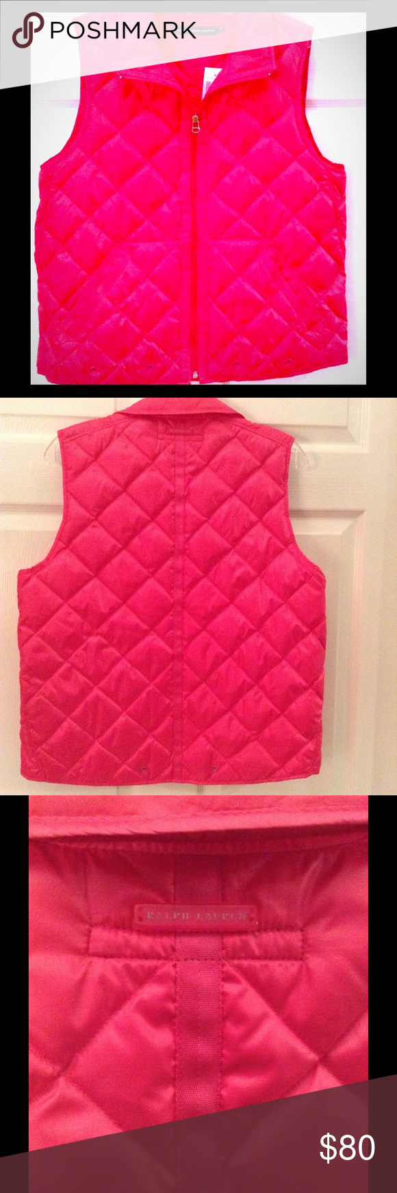 BRIGHT PINK Down Vest BRIGHT PINK Lightly Down-Filled Vest by Ralph Lauren Sport. NWT. Ralph Lauren Sport Jackets & Coats Vests