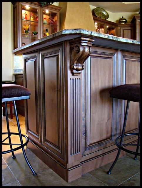 Kitchen Cabinet Corbule Back Island Flute And Corbel Ejh Cabinets Millwork Inc