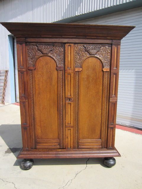 Attractive Dutch Antique Armoire Wardrobe Linen Press Antique Furniture Cabinet