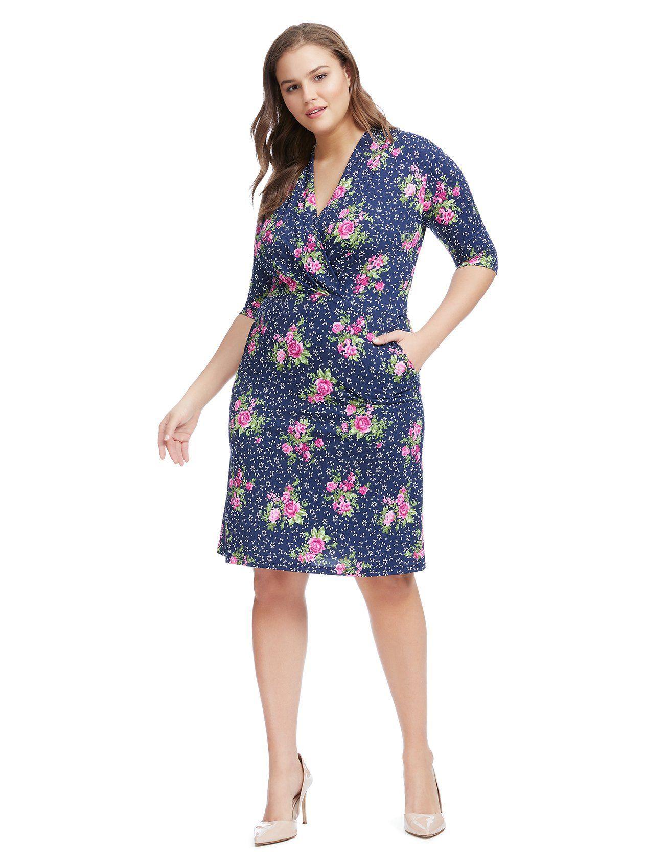 9eda8011582 Faux Wrap Floral Diana Dress