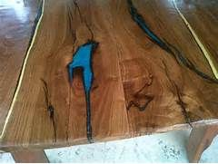 Wood Grain Table With Blue Inlay Epoxy Wood Table Wood Wood Creations
