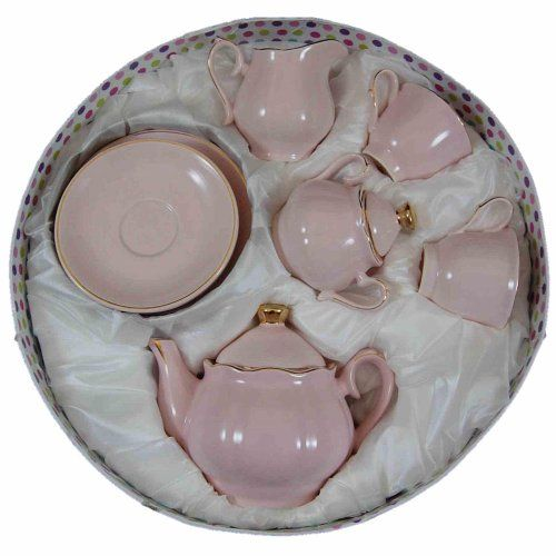 Princess Pink Fine China Childs Size Tea Party Tea Set  Service For Two And  Keepsake Storage Hat Box