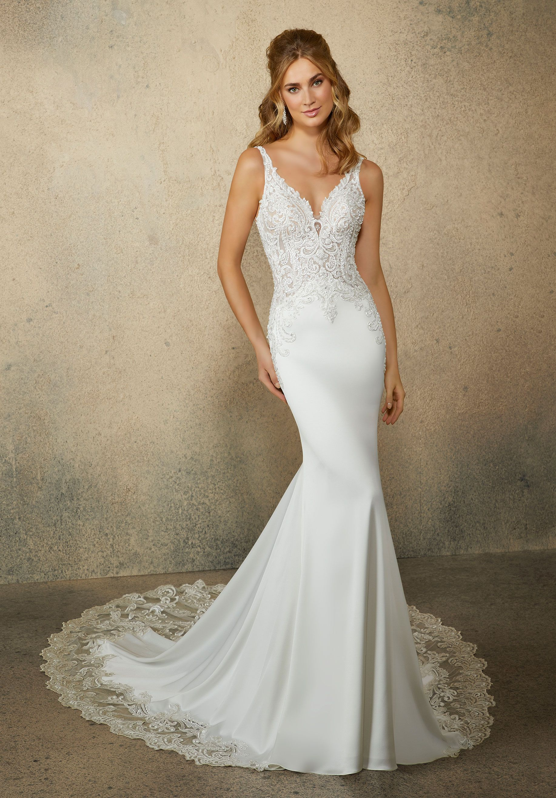 This Gown Features Pearl And Crystal Embroidery On A Net Bodice