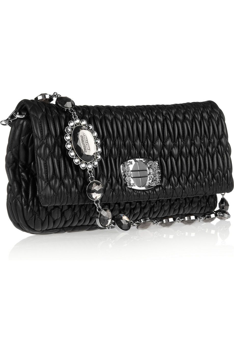 70d86e36fe5 Miu Miu crystal chain strap matelasse leather shoulder bag ...