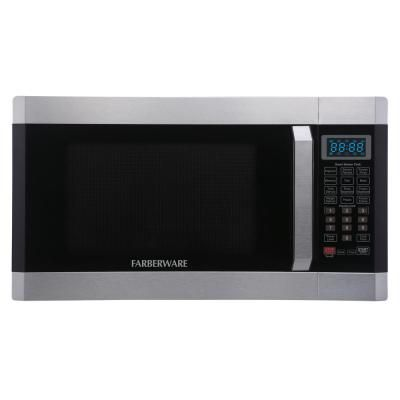 Farberware 1 6 Cu Ft 1100 Watt Countertop Microwave Oven With Smart Sensor In Stainless Steel With Platinum Fmo16ahtplb Countertop Microwave Oven Microwave Oven Microwave