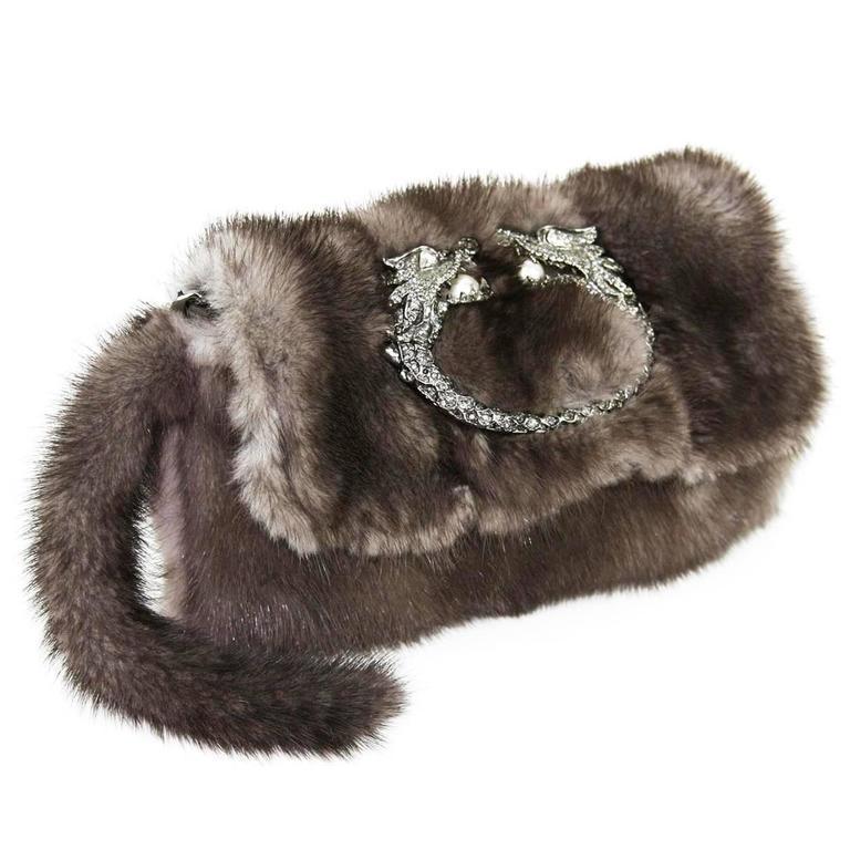 Gucci Tom Ford FW 2004 Dragon Pearl Jeweled Mink Fur Purse / Clutch