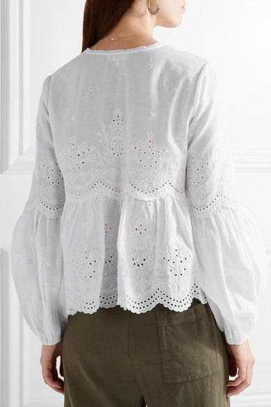cabceef86877a4 Ulla Johnson - Lucie Scalloped Broderie Anglaise Cotton Blouse - White - US
