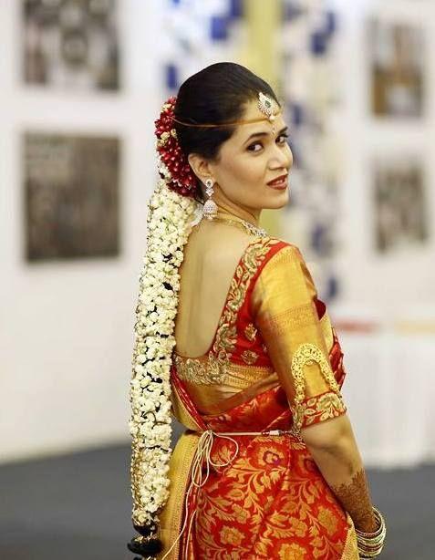 Bride In Elbow Length Gold Blouse Saree PatternsSaree DesignsBridal SareesWedding SareesSouth Indian