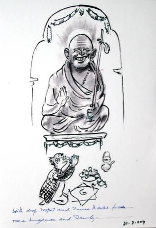 the cartoon by r k laxman in honour of the kanchi sankaracharya