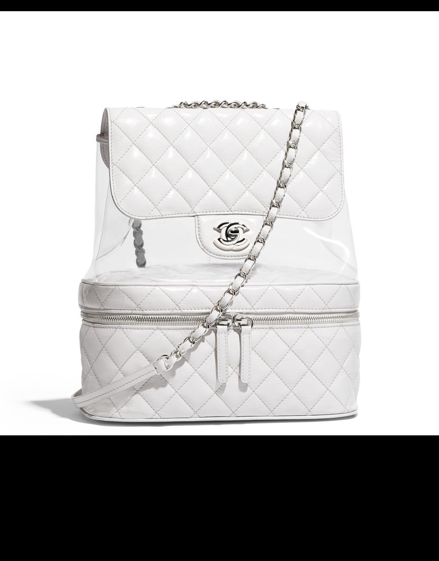 7f68d569c607fc Flap bag, crumpled calfskin, pvc, resin & silver-tone metal-white - CHANEL