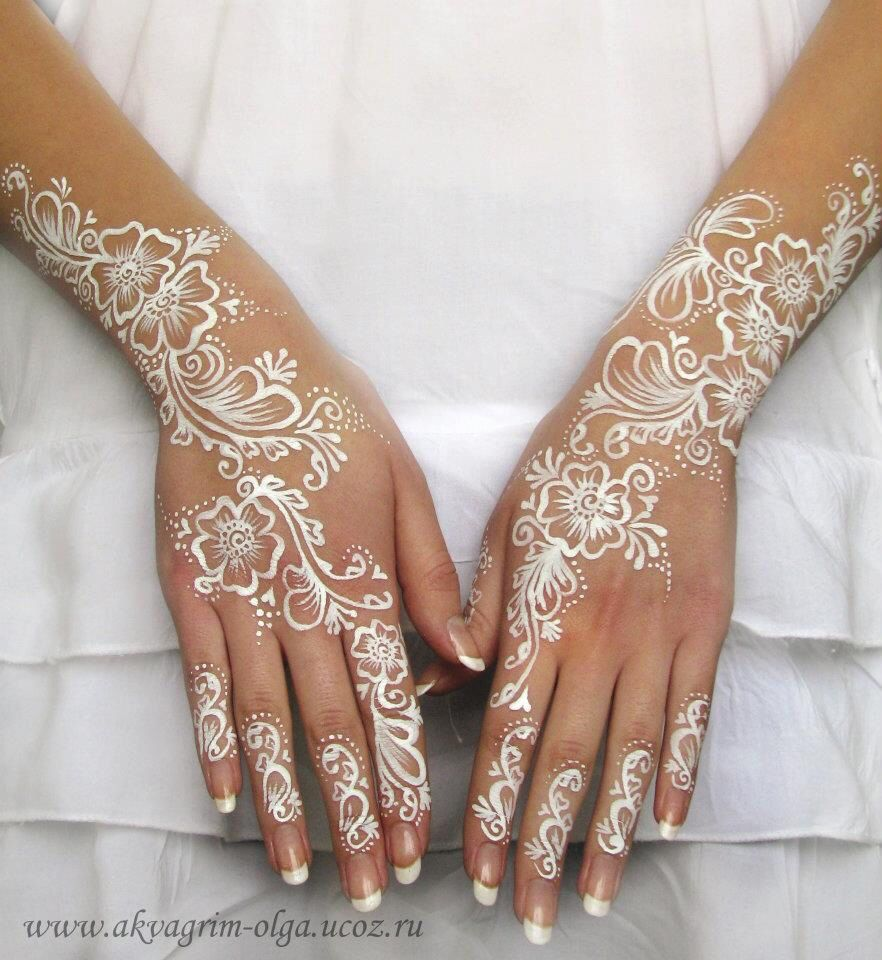 Olga Meleca White Bridal Henna Paint Face Body Painting