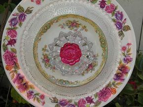 more plate flowers i ve made for gifts, crafts, I love this precious pastel pink flower I hope I can find some more of these plates