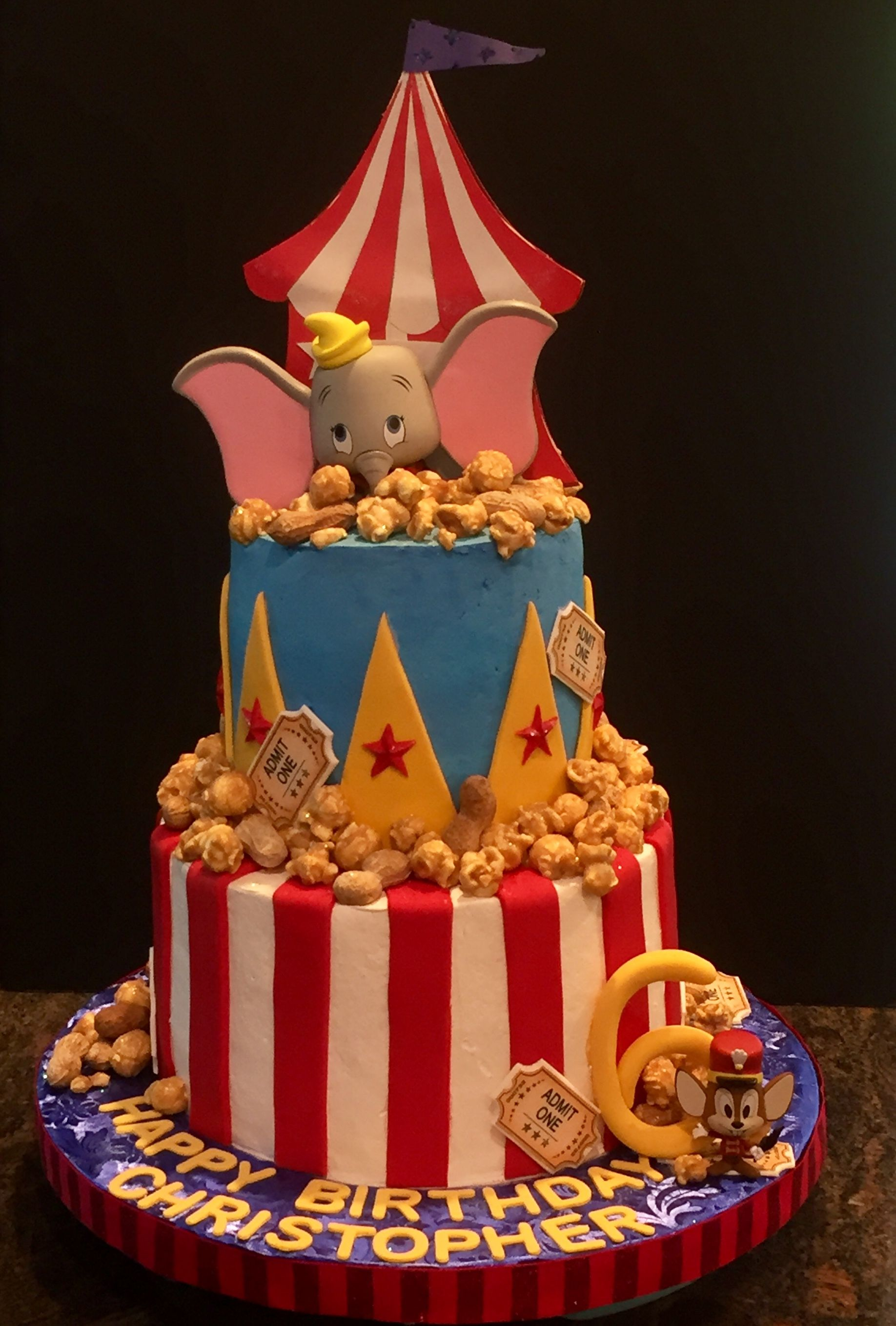 Brilliant Dumbo Circus Cake Carnival Birthday Cakes Dumbo Birthday Party Personalised Birthday Cards Veneteletsinfo