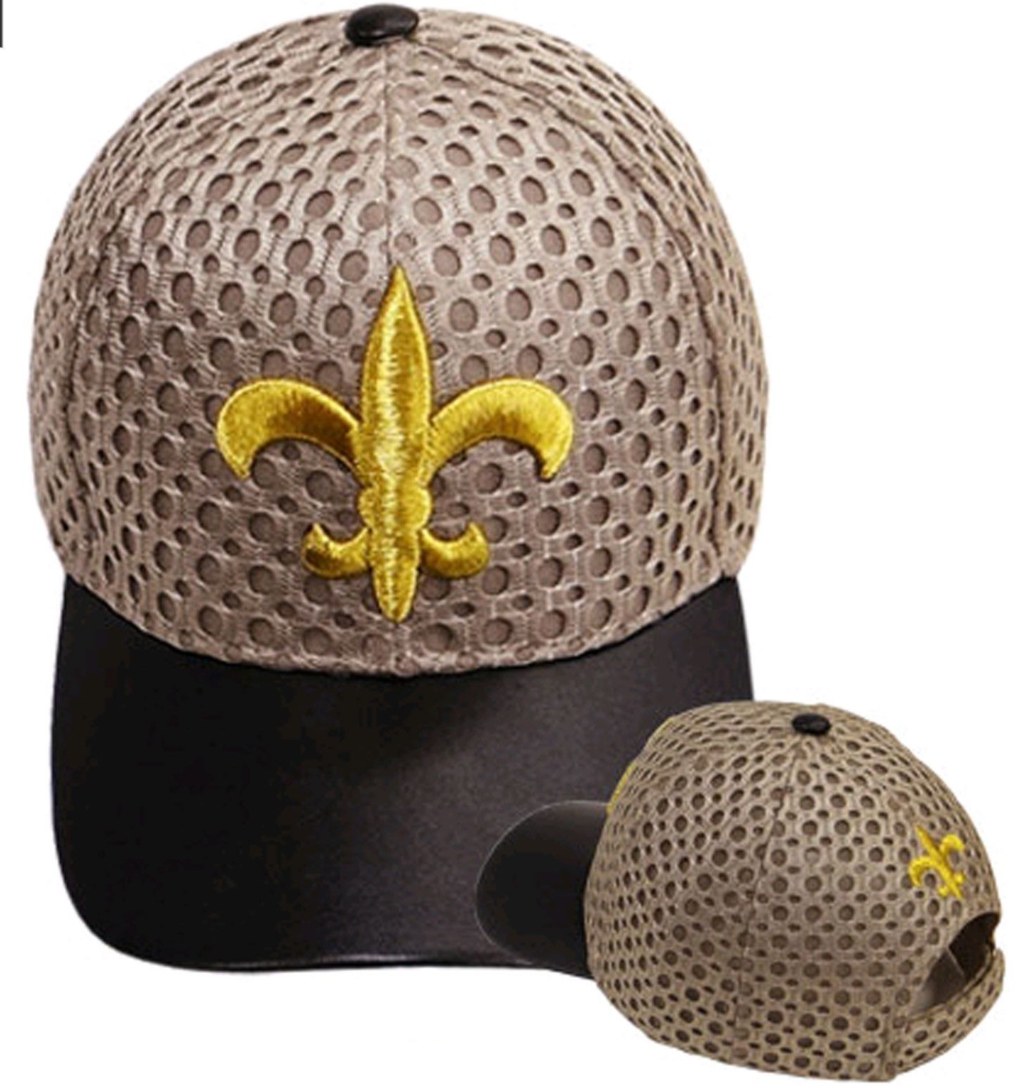 New Orleans Saints Baseball Cap Fleur De Lis Black and Gold Air Mesh and  Leather Hat NFL Football Team 5ad4dbe3604d