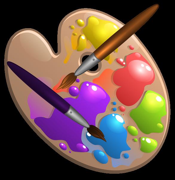 School Palette With Paint Brushes Png Image Free Clip Art Art Clipart Sun Clip Art