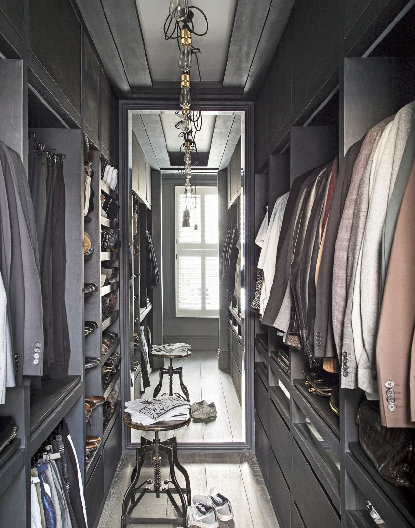 Modern Walk In Wardrobe With Floor To Ceiling Mirror And Grey