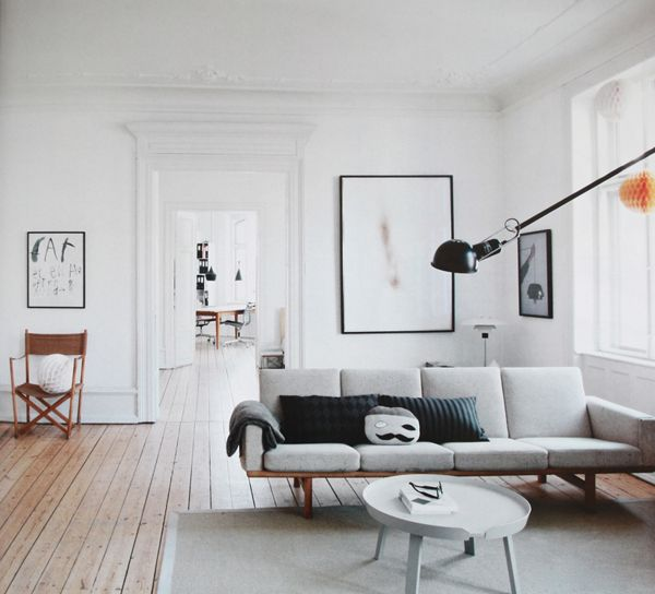 Best Vintage Scandinavian House Ideas Floor Design Living Room Setting With Gray Sofa And Chic Round Table Cool Black Lamp