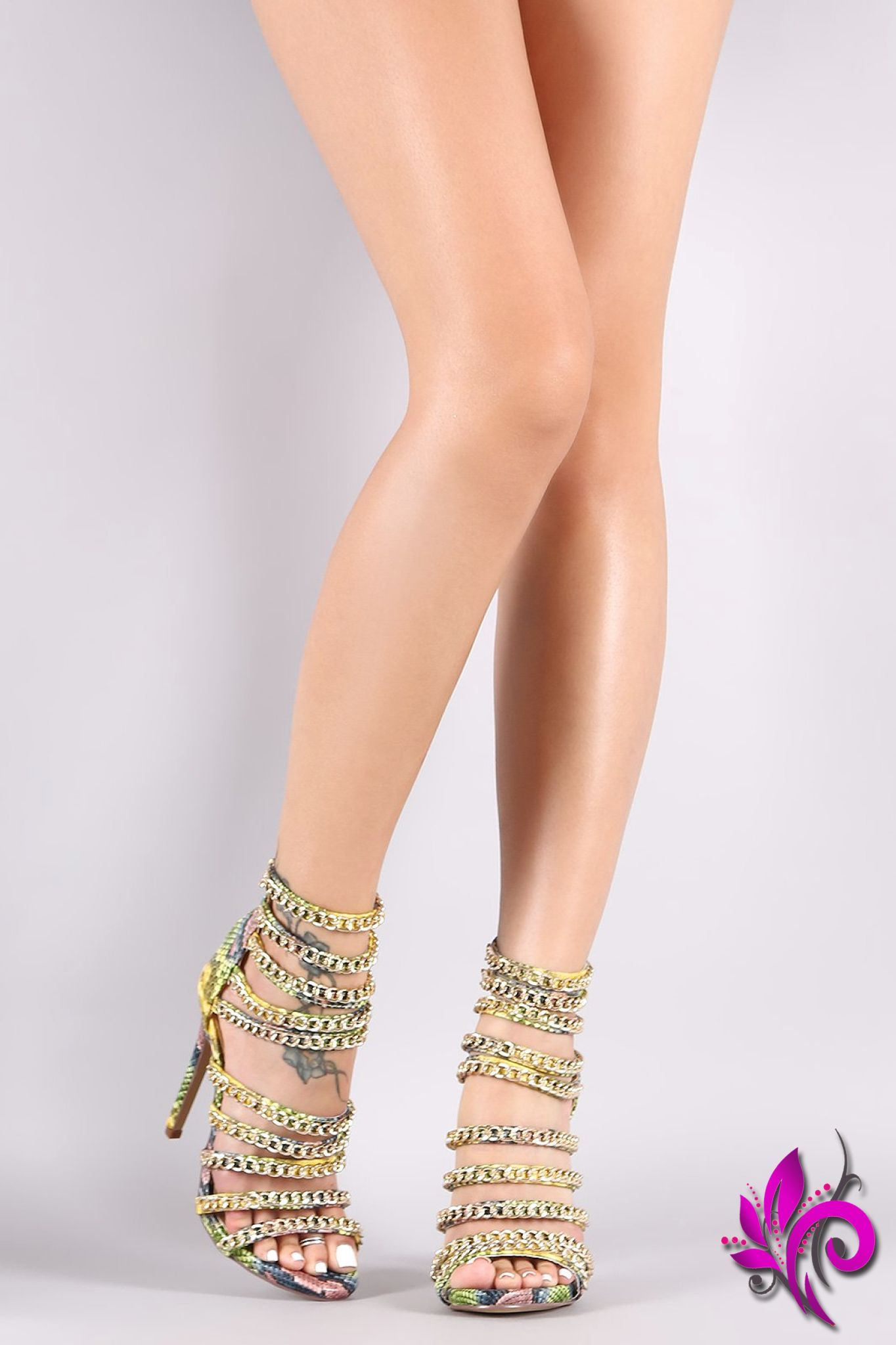 Liliana Snake Strappy Chain Embellished Open Toe Stiletto