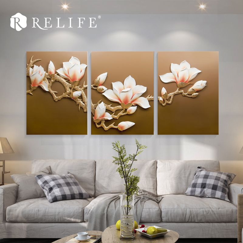 3pcs 60x80cm Magnolia Modular Wall Triptych Paintings Resin Flower Nordic Decoration Art Pictures Affiliate Nordic Decor Decor Modular Walls