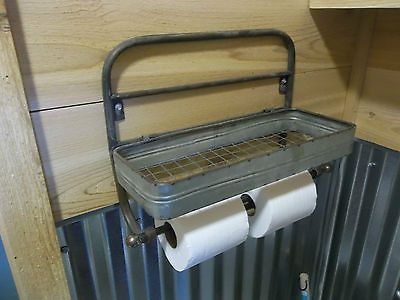 ... Rustic Farmhouse Aged Metal Paper Towel Holder & TOILET PAPER HOLDER  Wire Shelf 3