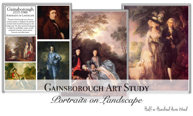 Gainsborough Art Project: Portraits on Landscape with free printable art study and art project instructions