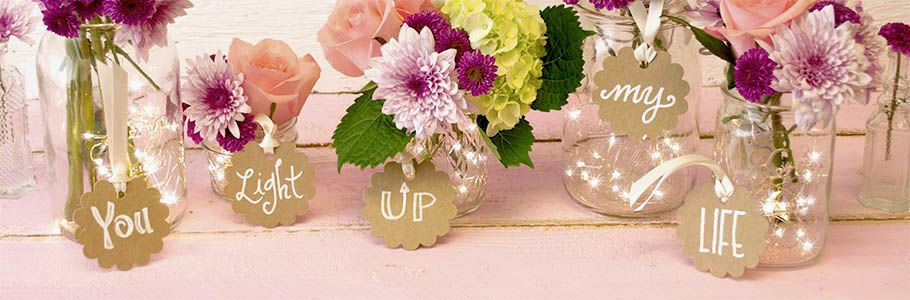 """""""You Light Up My Life."""" Cute theme idea and the lights in the mason jars"""