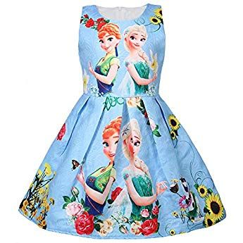 c26619d0005 WNQY Princess Elsa Role Play Costume Party Dress Little Girls Cosplay Dress  up (Blue,