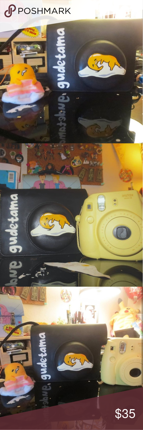 Hand painted gudetama instax camera purse thing Painted Gudetama on a instax camera purse thing