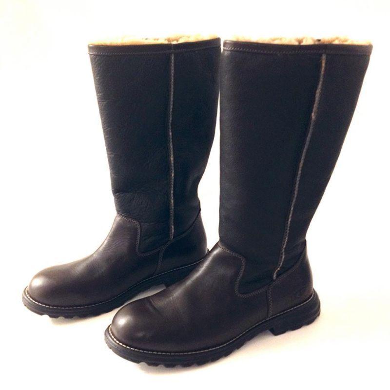980b0bded47 UGG Size 10 Brown Leather Genuine Sheepskin Shearling Tall Womens ...