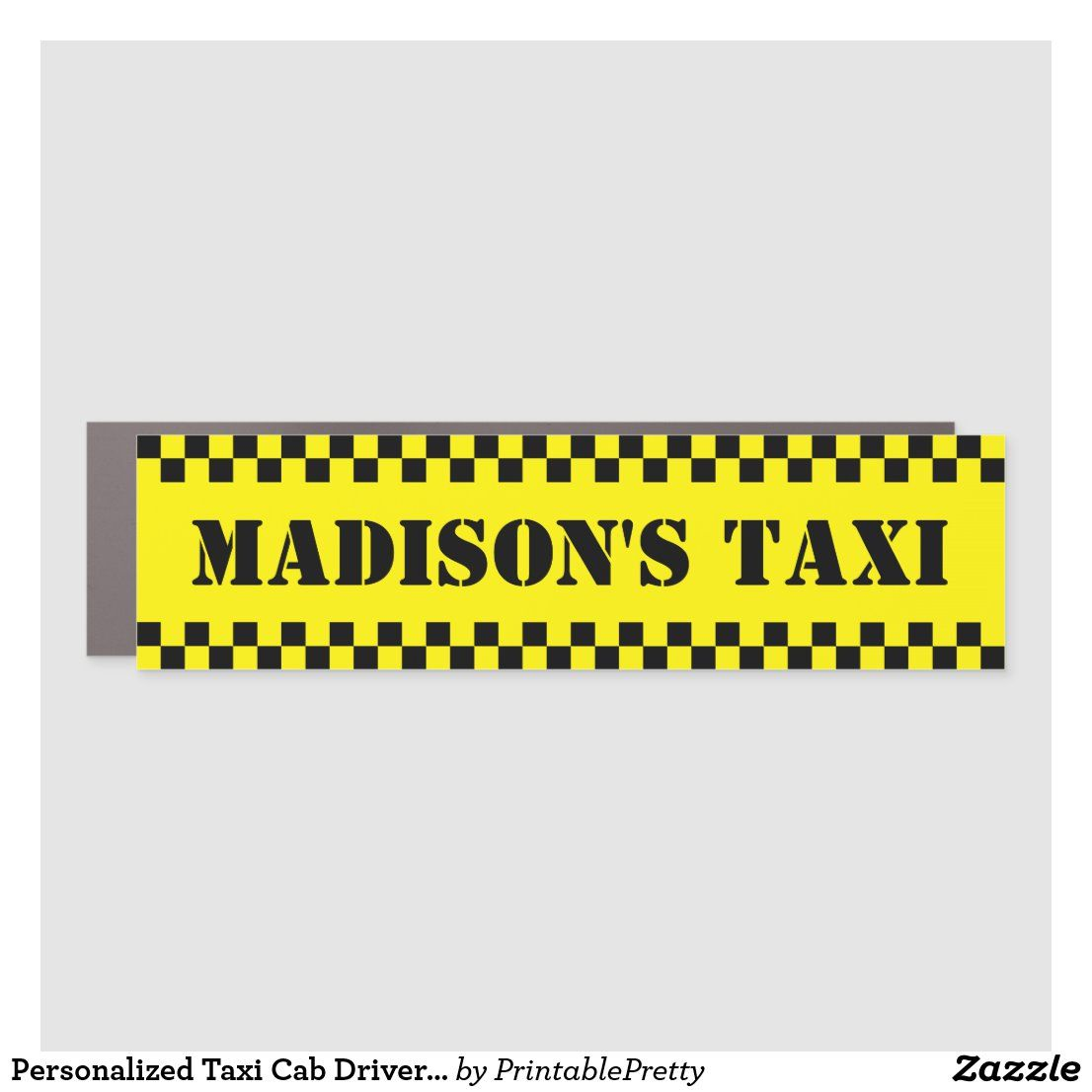 Personalized Taxi Cab Driver Funny Humor Car Magnet Zazzle Com Taxi Cab Cab Driver Car Magnets [ 1106 x 1106 Pixel ]