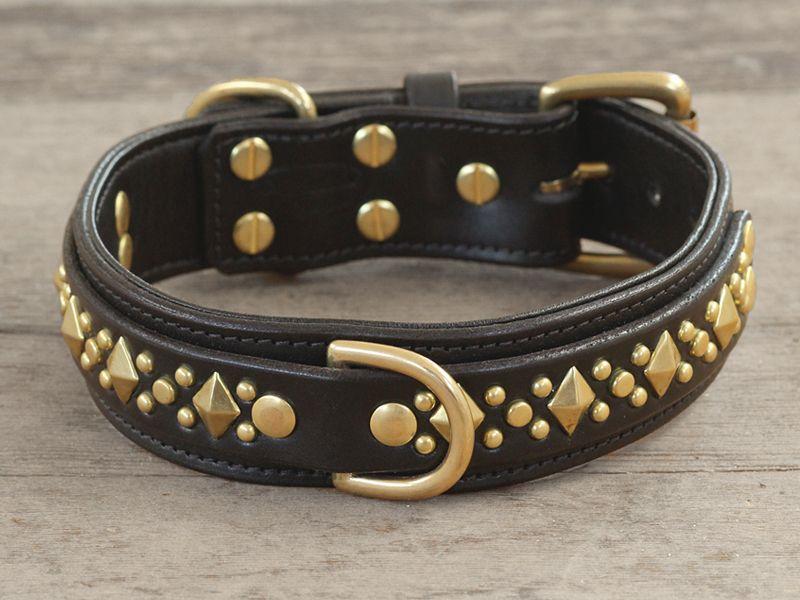 1 5 Diamond Jack Leather Dog Collar California Collar Co Leather Dog Collars Studded Leather Dog Collar Leather Dog Collar Custom