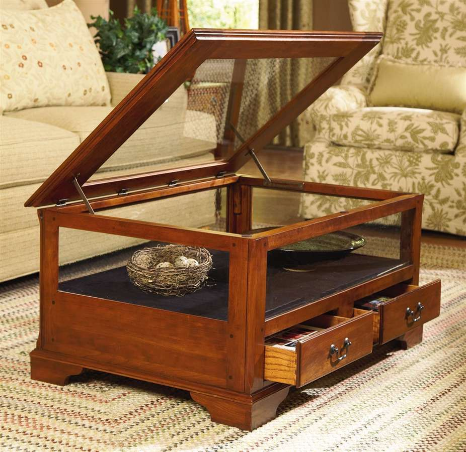 Astounding Glass Enclosed Coffee Table W Hinged Top In Cherry For The Download Free Architecture Designs Scobabritishbridgeorg