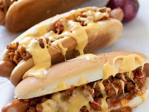 Hot Dog mit Hackfleisch und Käsesauce #hamburgermeatrecipes