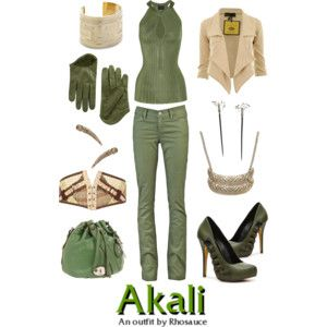A wearable feminine #Akali #outfit I created, inspired by #Riot's #Leagueoflegends character. #geek #fashion