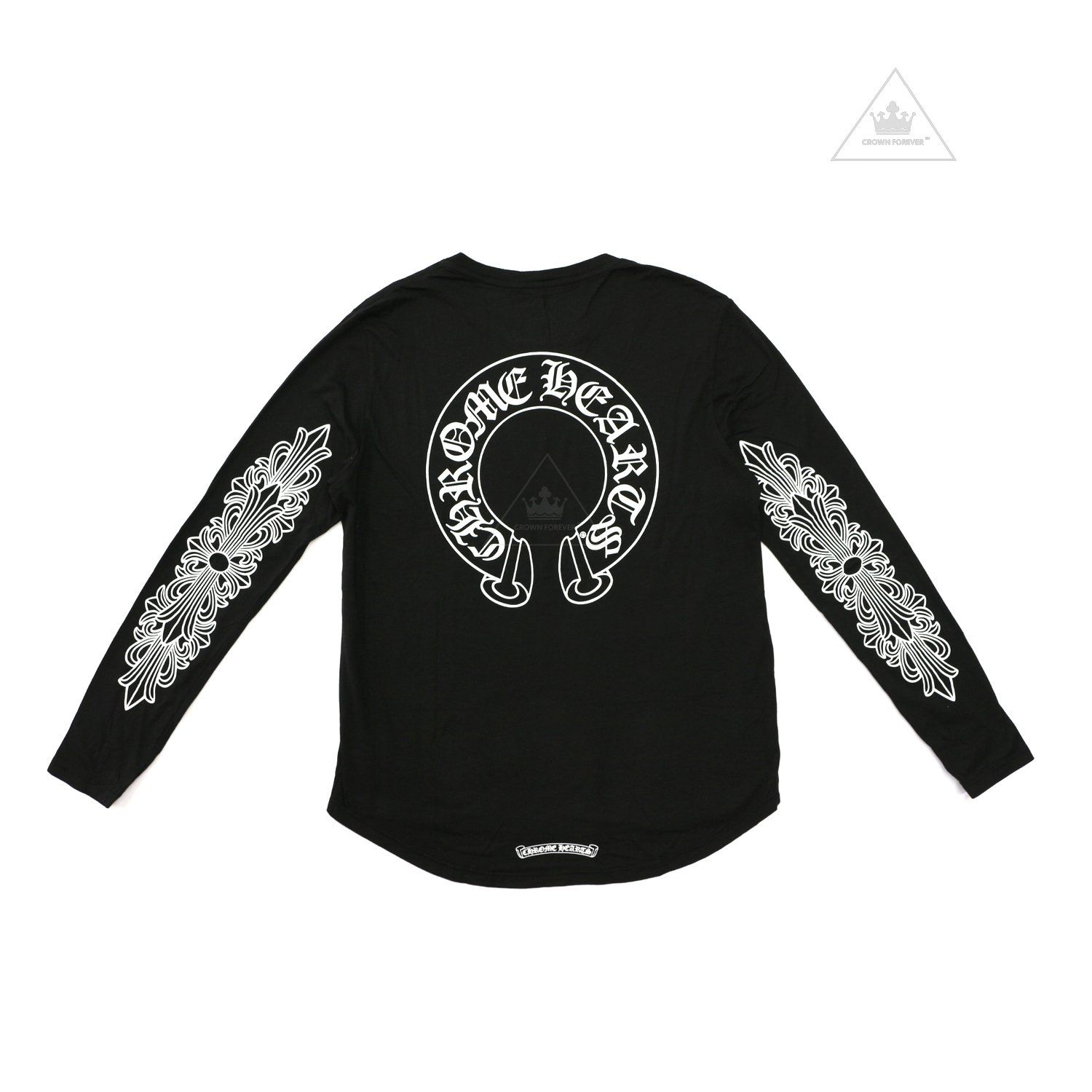 f34608525f8a The Chrome Hearts Horseshoe Floral Cross Logo Long Sleeve Tee - CH Horseshoe  Logo on back - CH Floral Cross Logos on sleeves - CH Scroll on back hem -  100% ...
