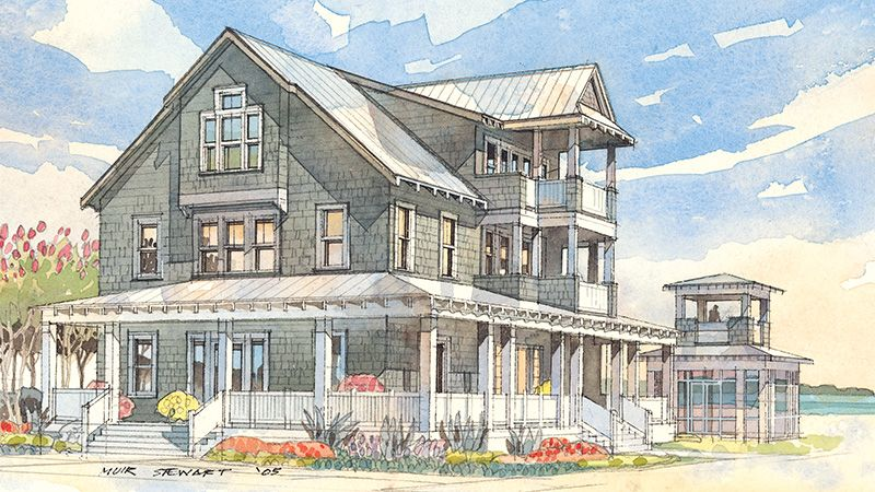 Drawing Its Design Roots From The Tidewater Shingle Style This Traditional Home Combines A Refined Beach House Plans Cottage House Plans Cottage Floor Plans
