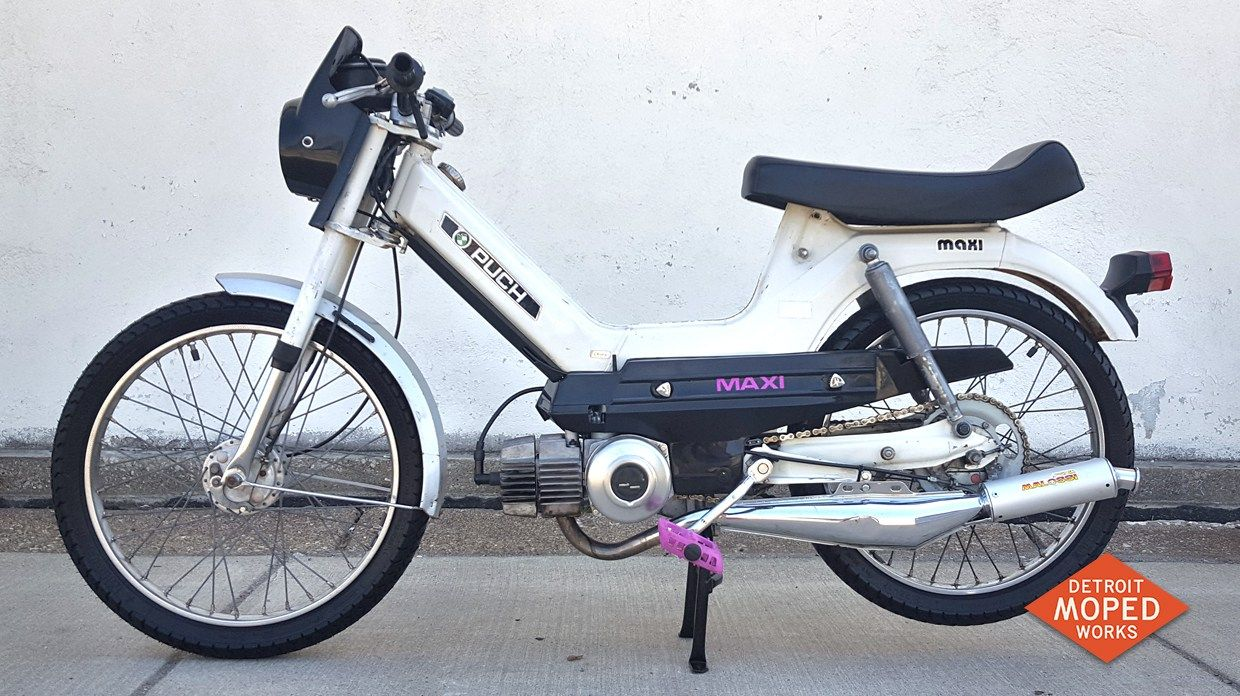 1976 White and Purple Puch Maxi (SOLD) | Detroit Moped Works