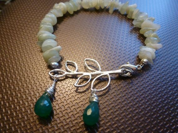 Green Jade Bracelet with Silver Olive Branch by CurranStudios, $19.00