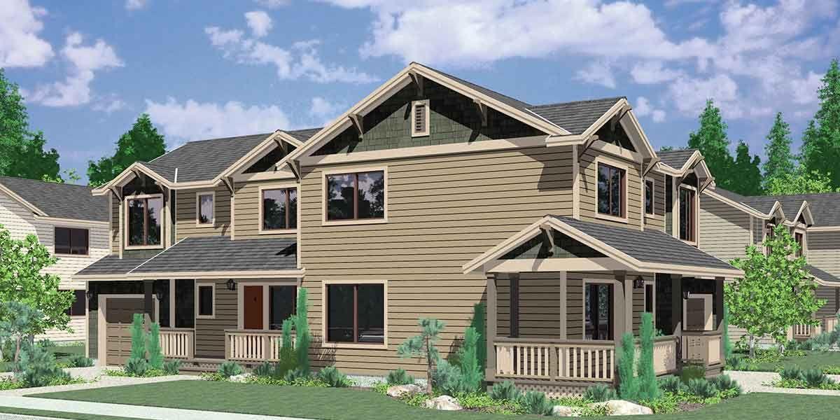 Duplex house plans corner duplex design w 3 bedrooms for Corner lot duplex plans