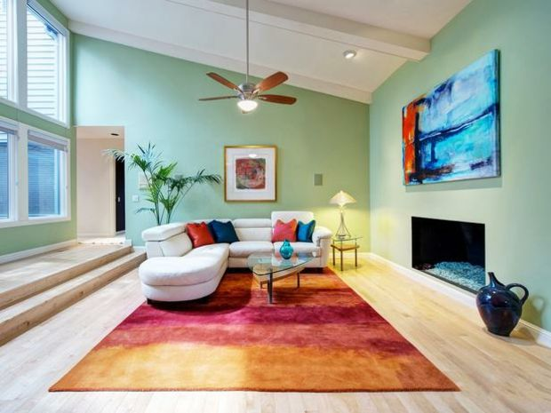 malerei teppich kontrastfarben gelb rot orange ecksofa design ... - Wohnzimmer Rot Orange