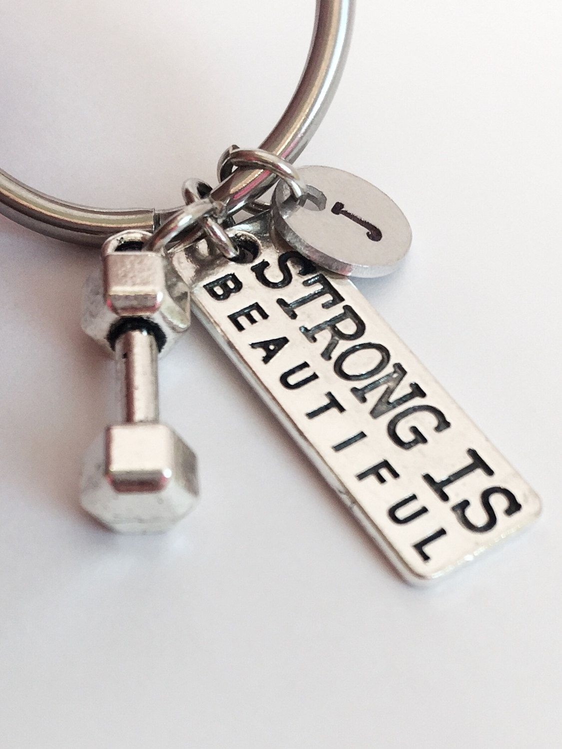 Strong Is Beautiful Keychain. Dumbbell Weight Keychain. Fitness ...