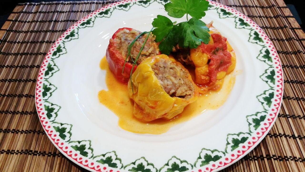 Rice and mince stuffed peppers   Stuffed sweet peppers ...