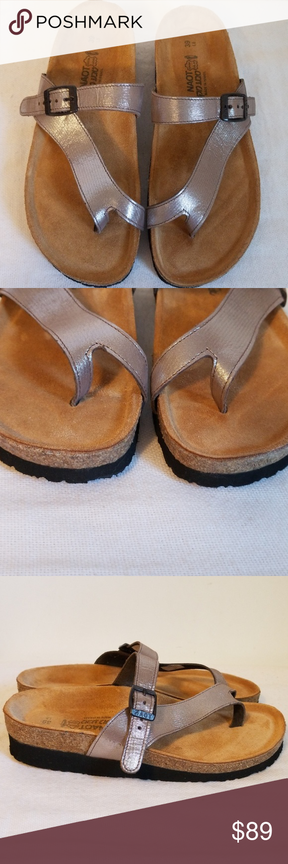 8a272da0a2ec Naot Tahoe Silver Leather Sandals 8 Worn once and cleaned. Excellent  condition. Naot Shoes