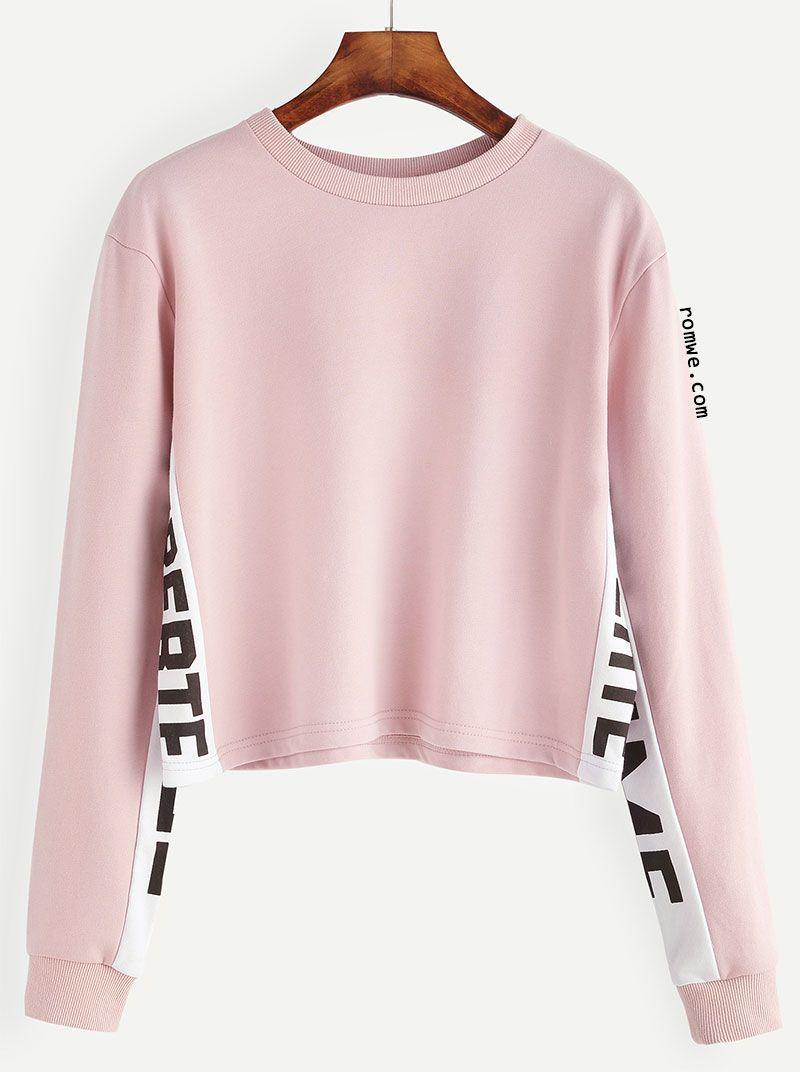 Pink Contrast Letter Print Sweatshirt   Romwe Women Style ...