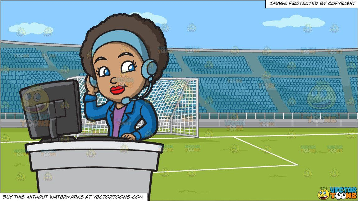 A Groovy Female Call Center Agent And A Soccer Field With Stadium Seating Background Soccer Field Call Center Groovy