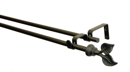 Bcl Drapery Hardware Leaf Double Curtain Rod 5 8 Diameter Pole At