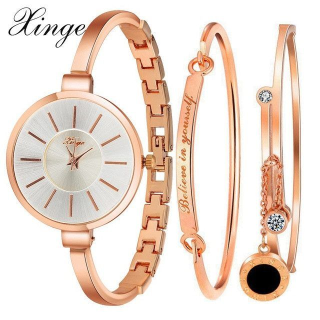 b23cd5036c4 Xinge Luxury Famous Women Bracelet Watch Jewelry Set Wristwatch Women  Crystal Gemstone Stone Quartz Watches