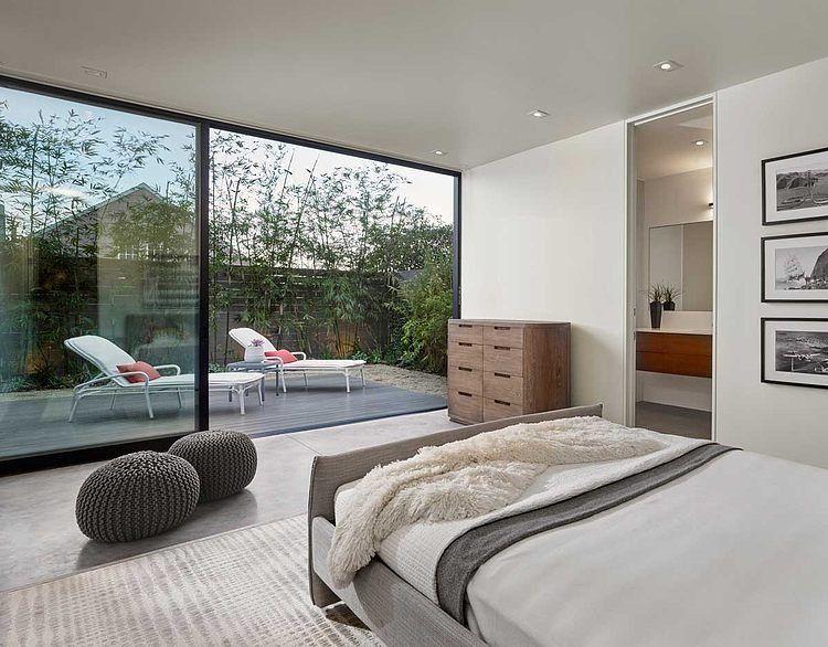 Slaapkamer met terras en groot schuifraam projecten om te