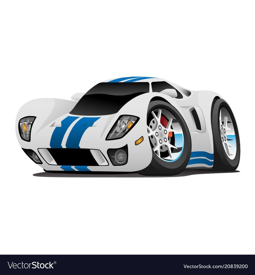 Super Car Cartoon Vector Image On Vectorstock Car Cartoon Super Cars Car